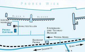 Anfahrt zum Prora Zentrum auf der Insel Rügen an der Ostsee