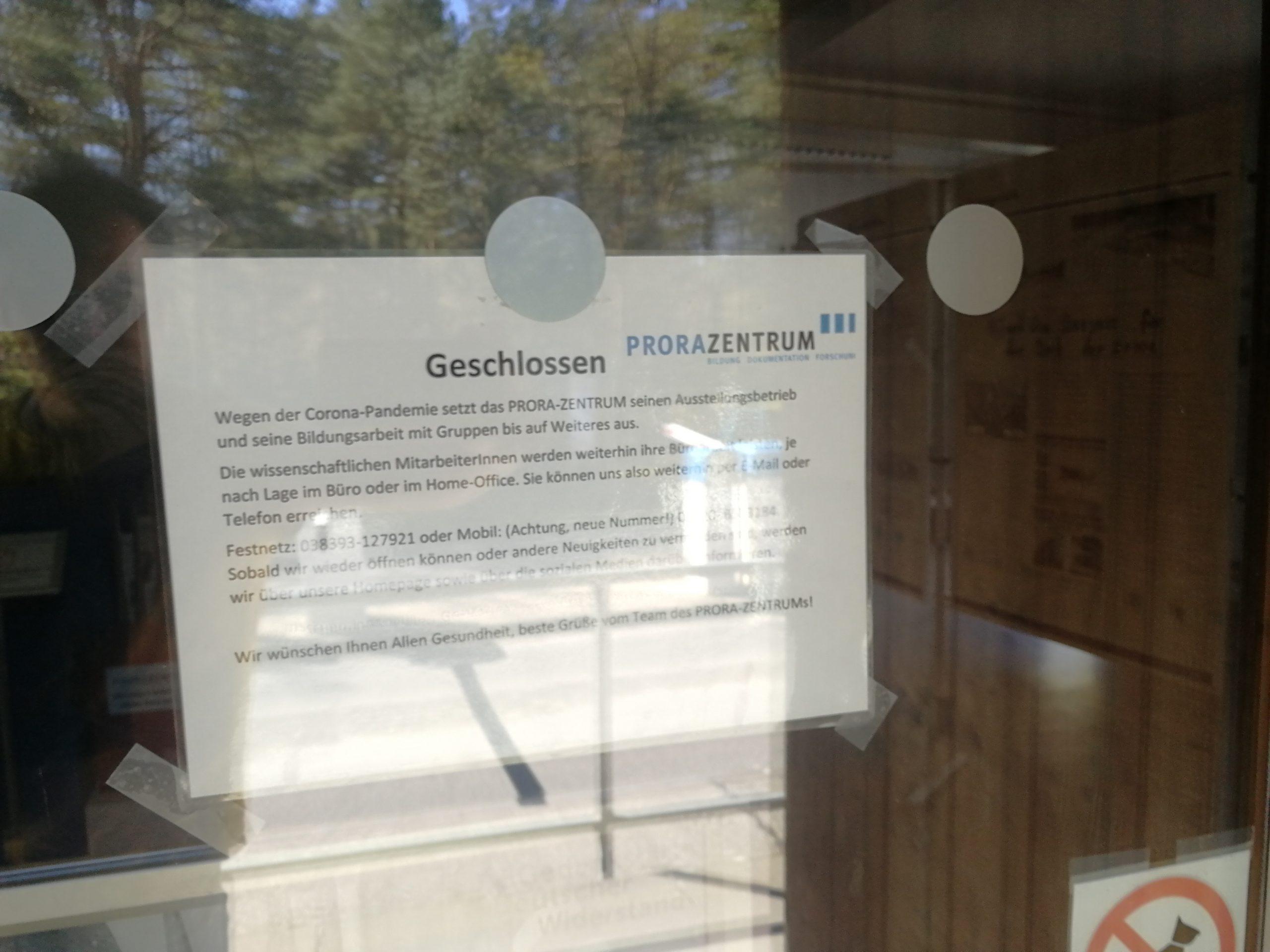 Das PRORA-ZENTRUM ist geschlossen bis auf Weiteresssen bis auf Weiteres